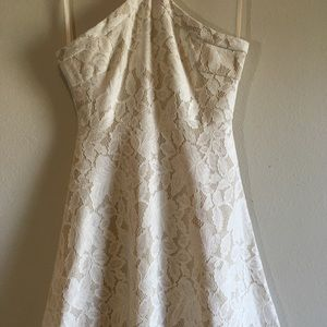 She and Sky Dresses - Fit Flare Lace Dress Halter Skater Floral Circle